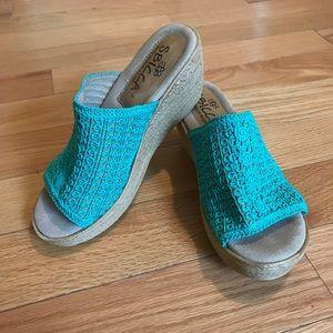 Sbicca Blue Crochet Slip On Wedges